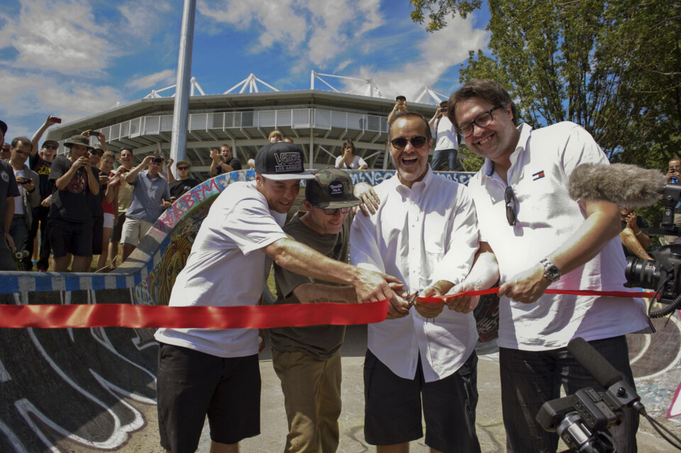 From L to R: Marc Tison, Barry Walsh, Joey Saputo (Montreal Impact President), and David Heurtel (RIO President) cut the ribbon at the Big-O re-birthday celebration.  Photo: Dan Mathieu</span>