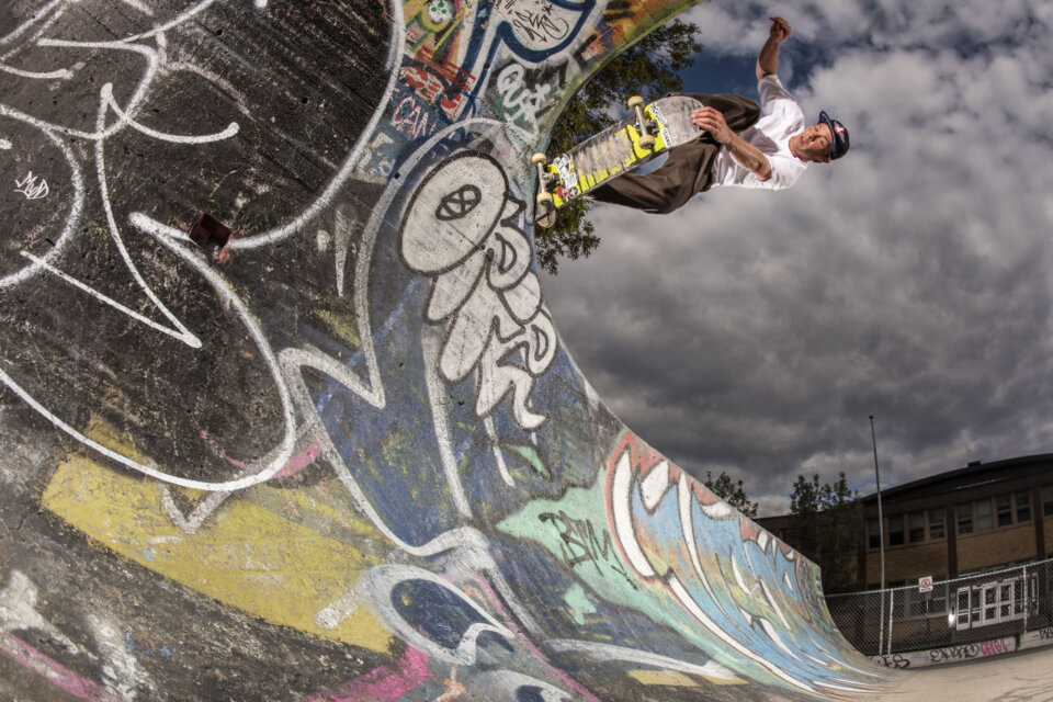 Big-O's official caretaker, Marc Tison, crail slide down.  Photo: Dan Mathieu</span>