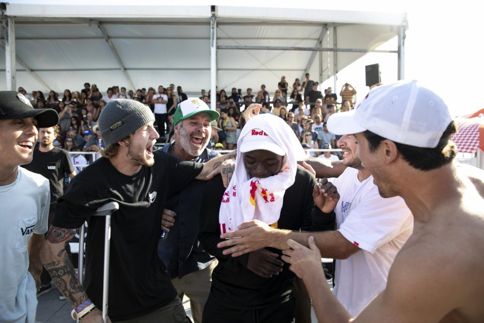 ​Zion Wright celebrates his win at Huntington Beach  Photo: Life Without Andy</span>