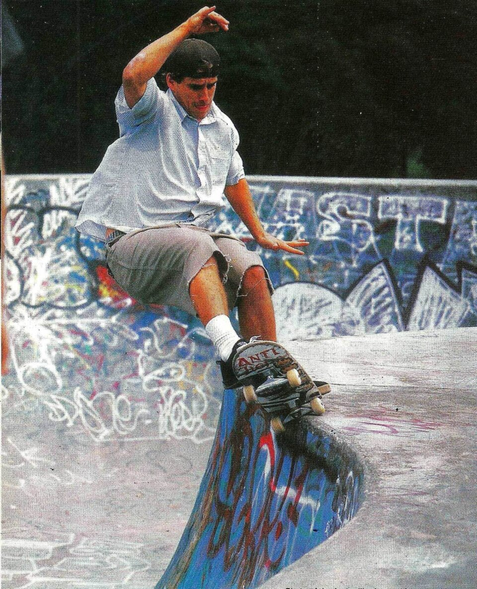 This f/s grind at the Lynnfield park in New Zealand began on the other side of that hip. Since it's John Cardiel, you can be sure it was traveling around 100 mph—or, as one would say in New Zealand, 160.934 km/h.