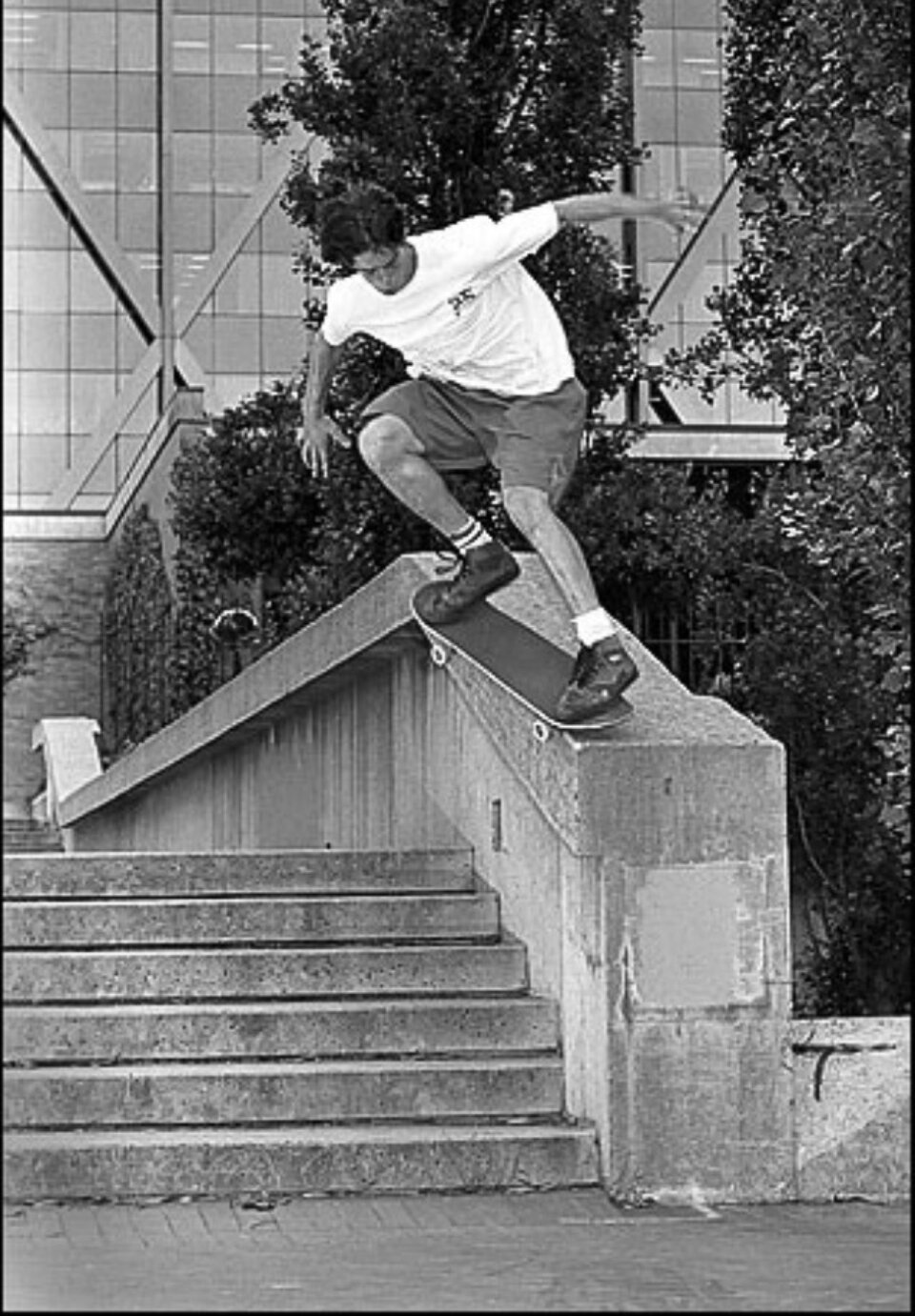 A young Wade Speyer bangs out a crooked grind at the infamous Hubba Hideout.  Photo: Bryce Kanights</span>