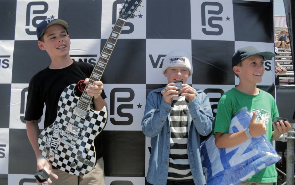 The future is bright. Jack Winburn, CJ Collins and Tate Carew taking to the podium for the Vans Park Series Junior Contest  Photo: Patrick O'Dell</span>