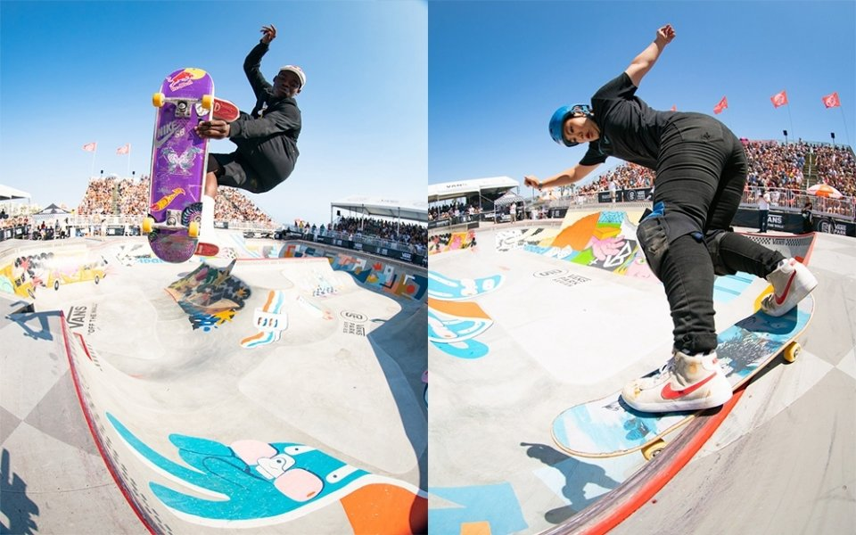 Zion Wright & Kisa Nakamura have claimed their maiden Vans Park Series victories in Huntington Beach  Photo: Anthony Acosta</span>