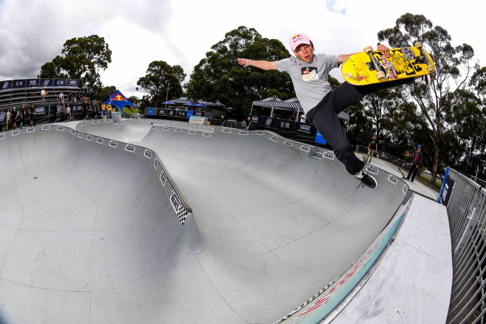 Keegan Palmer boneless off the top of the custom-built extension  Photo: Andrew Mapstone</span>