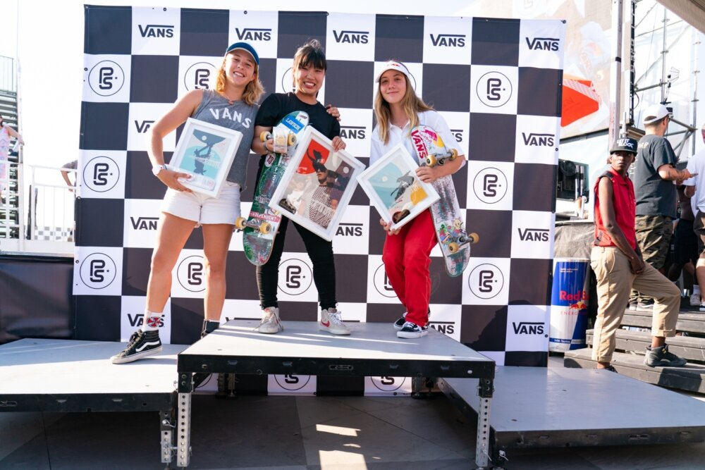 Women's Pro Tour Podium - 2nd Jordyn Barratt, 1st Kisa Nakamura, 3rd Brighton Zeuner Anthony Acosta