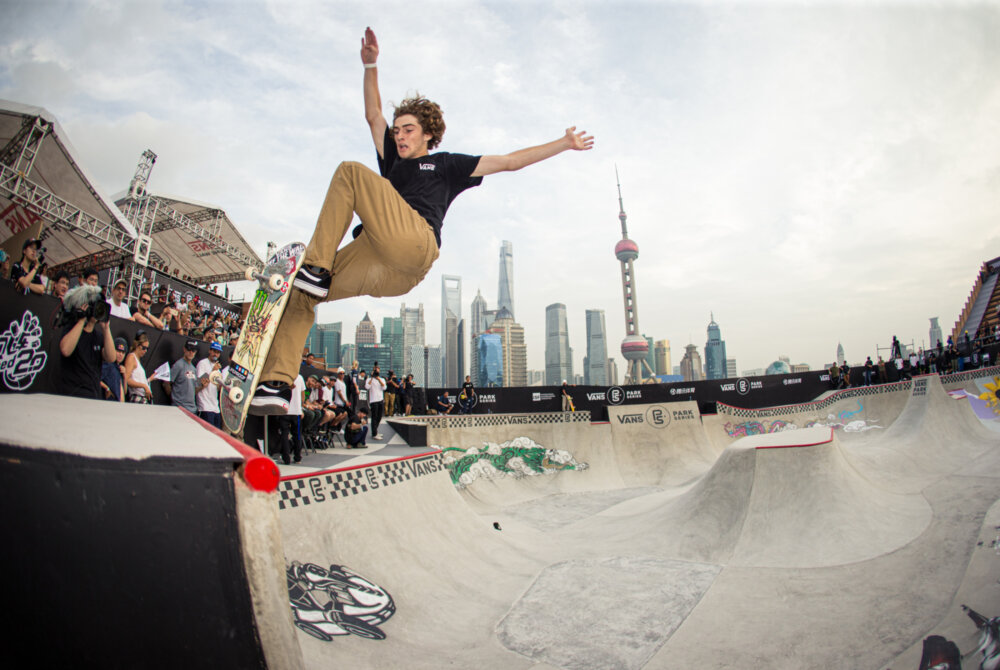 Tom Schaar nails the action in front of a sick backdrop. Front blunt at the Van Park Series Championships in Shanghai, China. - September 2017 Bryce Kanights
