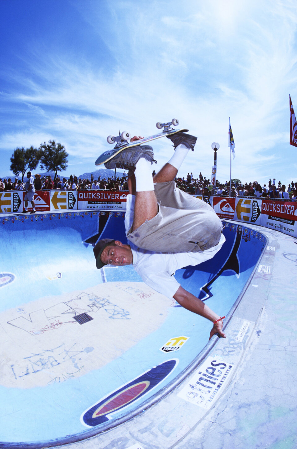 John Cardiel whips out a frontside invert in Marseille's deep end (circa June 2000).  Photo: Bryce Kanights</span>